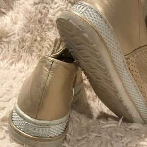 Stuart Weitzman Gold Sneakers like new condition!